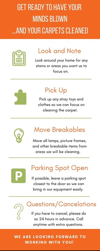 Infographic explaining steps to prepare for carpet cleaning in moon township by Airport Chem-Dry