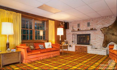 wall to wall orange and yellow plaid 70's carpet in Corona CA